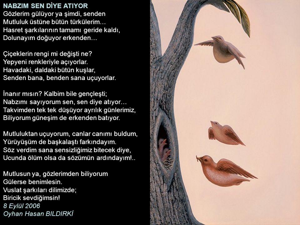 NABZIM SEN DİYE ATIYOR Gözlerim gülüyor ya şimdi, senden Mutluluk üstüne bütün türkülerim… Hasret şarkılarının tamamı geride kaldı, Dolunayım doğuyor erkenden… Çiçeklerin rengi mi değişti ne.