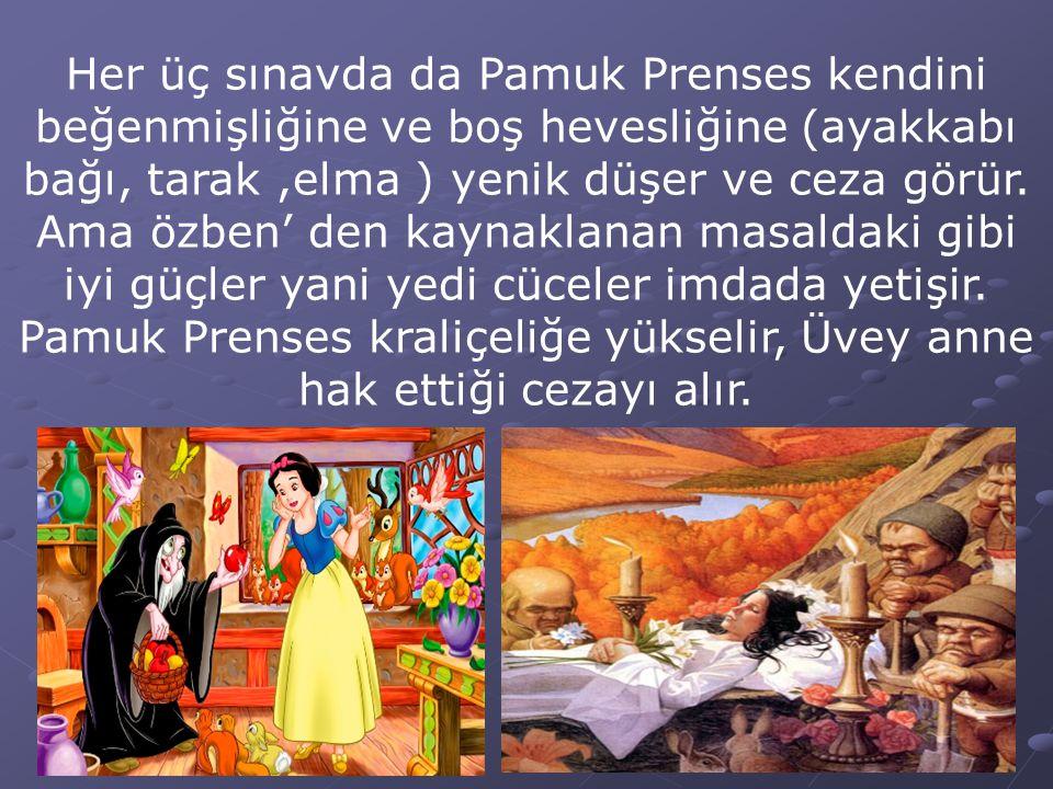 Her üç sınavda da Pamuk Prenses kendini beğenmişliğine ve boş hevesliğine (ayakkabı bağı, tarak,elma ) yenik düşer ve ceza görür. Ama özben' den kayna