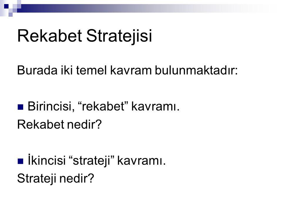 """Rekabet Stratejisi Burada iki temel kavram bulunmaktadır:  Birincisi, """"rekabet"""" kavramı. Rekabet nedir?  İkincisi """"strateji"""" kavramı. Strateji nedir"""