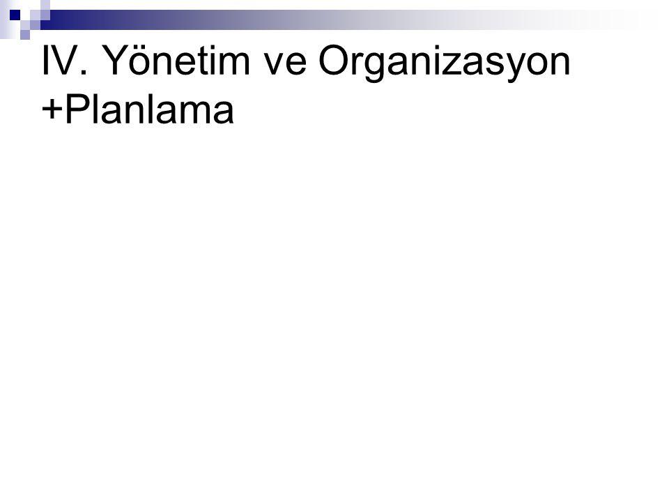 IV. Yönetim ve Organizasyon +Planlama