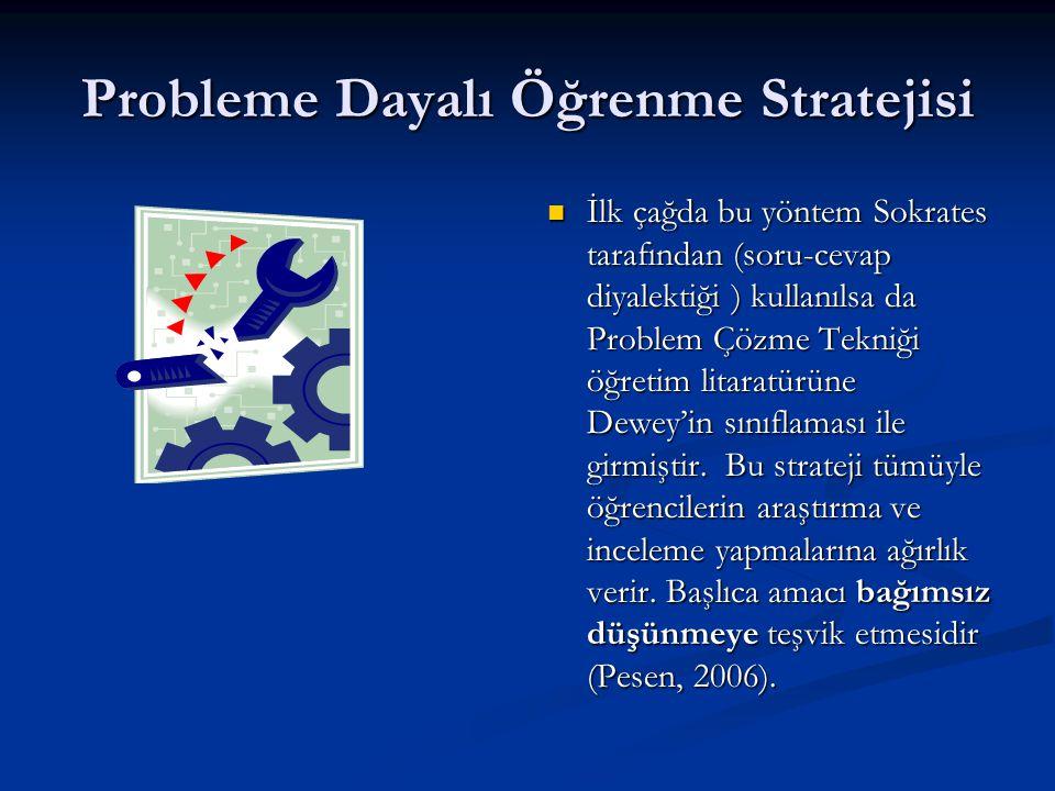 Probleme Dayalı Öğrenme Stratejisi  İlk çağda bu yöntem Sokrates tarafından (soru-cevap diyalektiği ) kullanılsa da Problem Çözme Tekniği öğretim lit