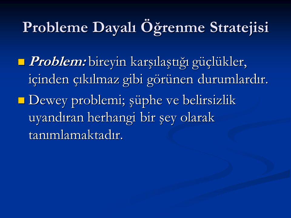 Probleme Dayalı Öğrenme Stratejisi  Problem: bireyin karşılaştığı güçlükler, içinden çıkılmaz gibi görünen durumlardır.  Dewey problemi; şüphe ve be