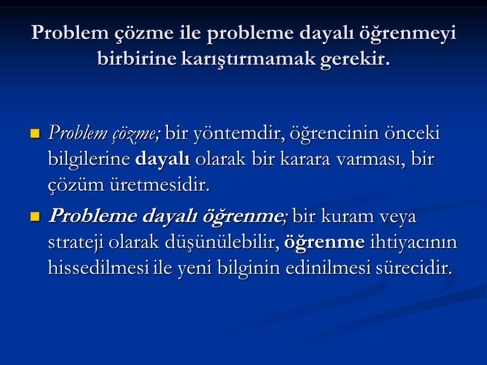 Problem çözme ile probleme dayalı öğrenmeyi birbirine karıştırmamak gerekir.  Problem çözme; bir yöntemdir, öğrencinin önceki bilgilerine dayalı olar