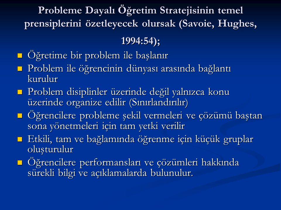 Probleme Dayalı Öğretim Stratejisinin temel prensiplerini özetleyecek olursak (Savoie, Hughes, 1994:54);  Öğretime bir problem ile başlanır  Problem