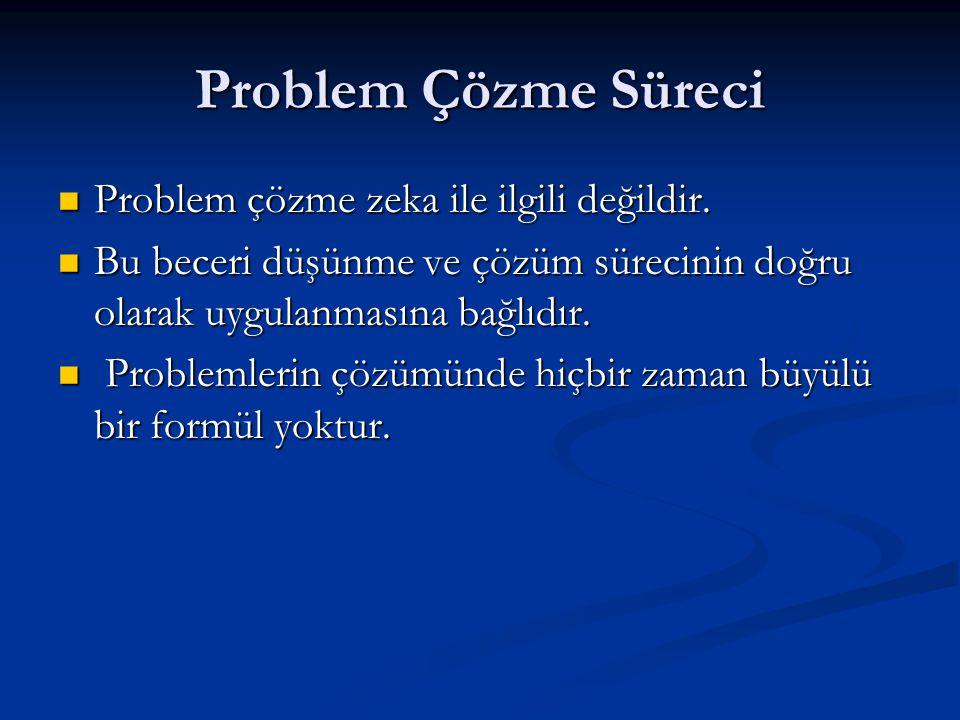 Problem Çözme Süreci  Problem çözme zeka ile ilgili değildir.  Bu beceri düşünme ve çözüm sürecinin doğru olarak uygulanmasına bağlıdır.  Problemle