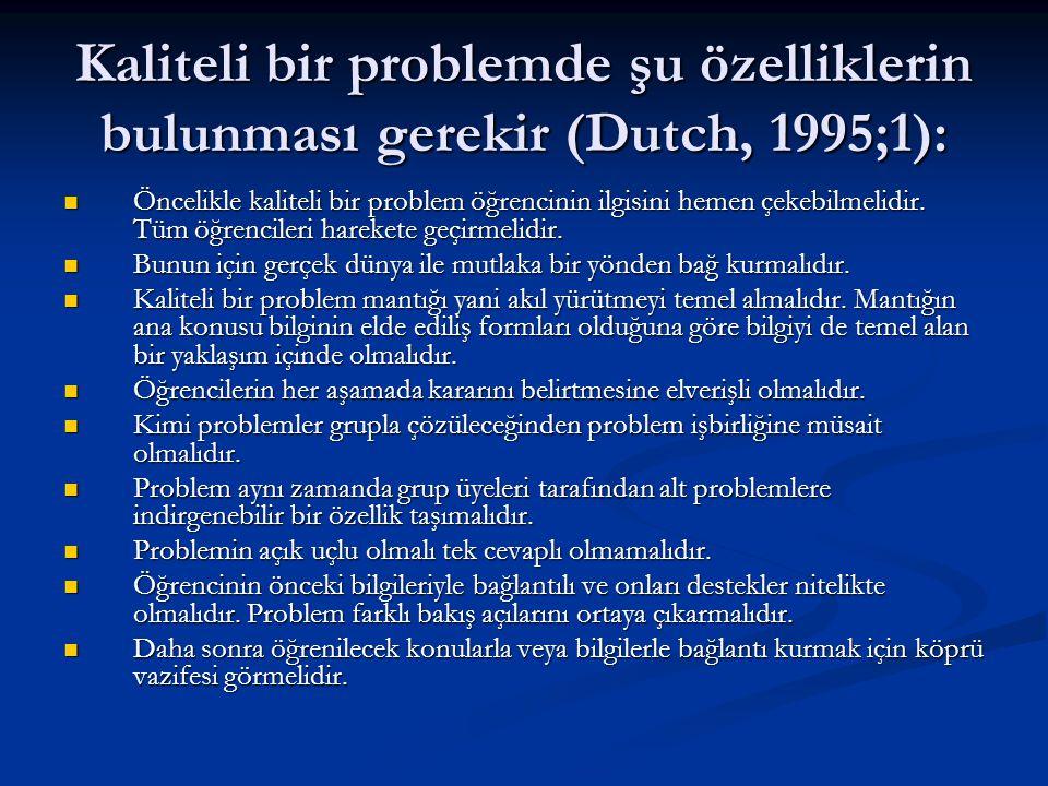 Kaliteli bir problemde şu özelliklerin bulunması gerekir (Dutch, 1995;1):  Öncelikle kaliteli bir problem öğrencinin ilgisini hemen çekebilmelidir. T