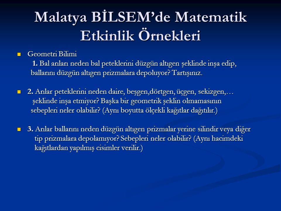 Malatya BİLSEM'de Matematik Etkinlik Örnekleri  Geometri Bilimi 1. Bal arıları neden bal peteklerini düzgün altıgen şeklinde inşa edip, 1. Bal arılar