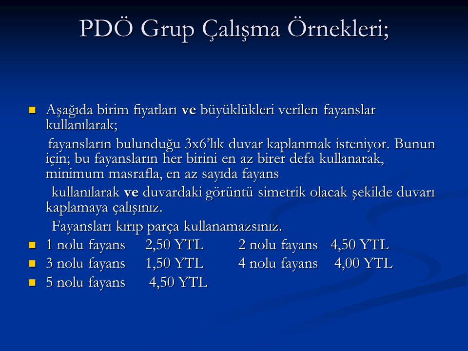 PDÖ Grup Çalışma Örnekleri;  Aşağıda birim fiyatları ve büyüklükleri verilen fayanslar kullanılarak; fayansların bulunduğu 3x6'lık duvar kaplanmak is