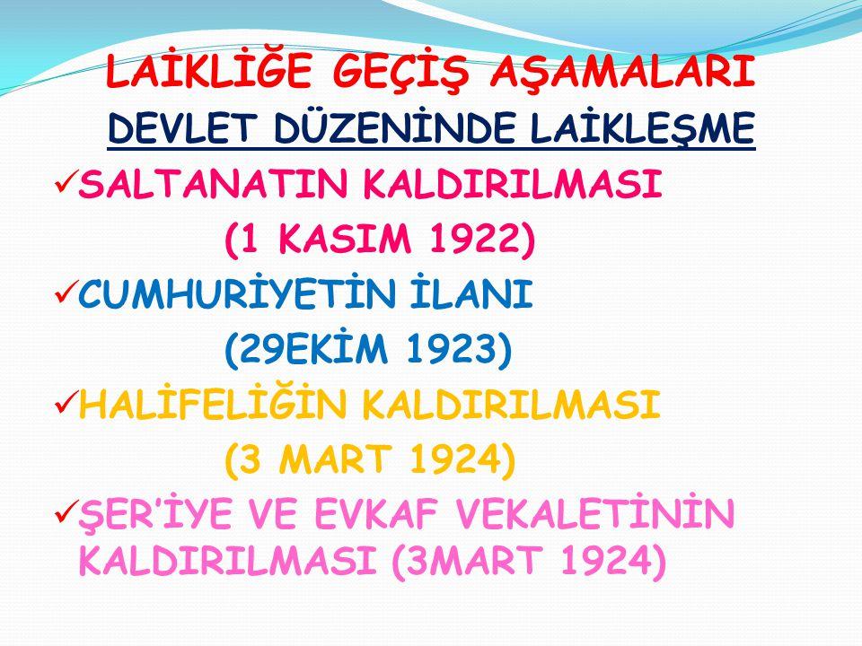 LAİKLİĞE GEÇİŞ AŞAMALARI DEVLET DÜZENİNDE LAİKLEŞME  SALTANATIN KALDIRILMASI (1 KASIM 1922)  CUMHURİYETİN İLANI (29EKİM 1923)  HALİFELİĞİN KALDIRIL