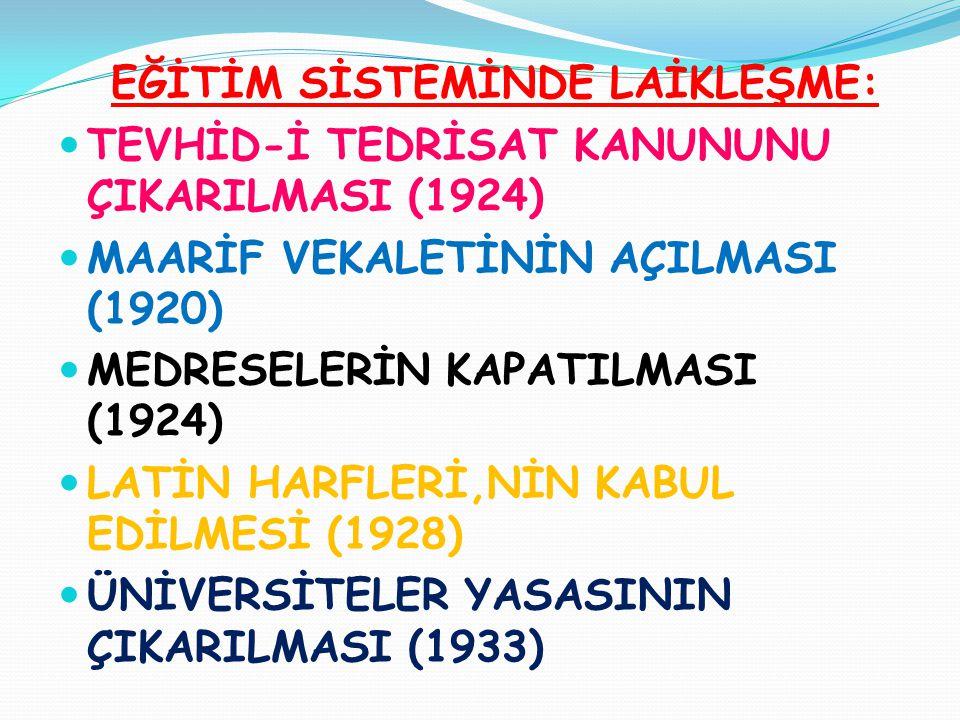 EĞİTİM SİSTEMİNDE LAİKLEŞME:  TEVHİD-İ TEDRİSAT KANUNUNU ÇIKARILMASI (1924)  MAARİF VEKALETİNİN AÇILMASI (1920)  MEDRESELERİN KAPATILMASI (1924) 