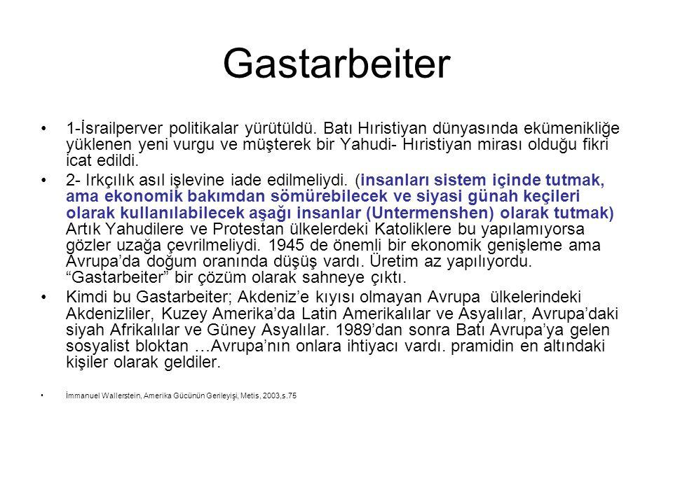 Gastarbeiter •1-İsrailperver politikalar yürütüldü. Batı Hıristiyan dünyasında ekümenikliğe yüklenen yeni vurgu ve müşterek bir Yahudi- Hıristiyan mir