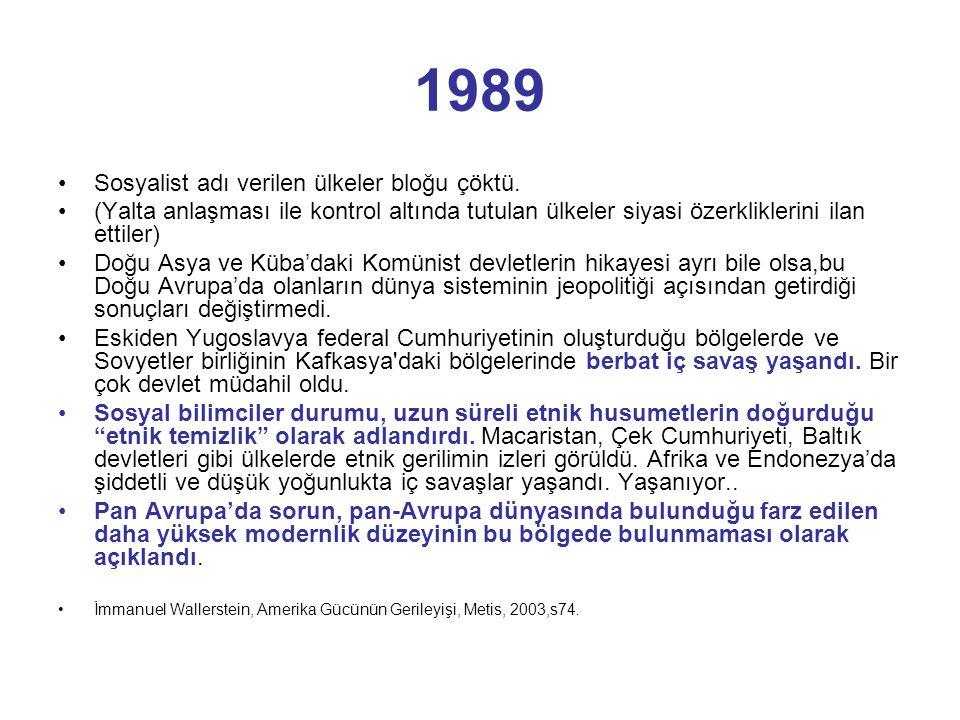 1989 •Sosyalist adı verilen ülkeler bloğu çöktü. •(Yalta anlaşması ile kontrol altında tutulan ülkeler siyasi özerkliklerini ilan ettiler) •Doğu Asya