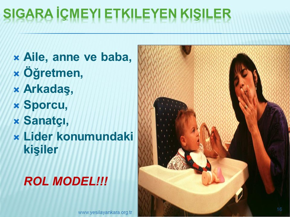  Aile, anne ve baba,  Öğretmen,  Arkadaş,  Sporcu,  Sanatçı,  Lider konumundaki kişiler ROL MODEL!!! 16 www.yesilayankara.org.tr