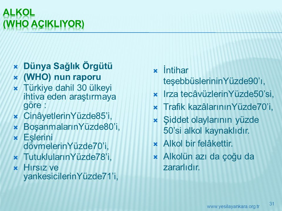  Dünya Sağlık Örgütü  (WHO) nun raporu  Türkiye dahil 30 ülkeyi ihtiva eden araştırmaya göre :  CinâyetlerinYüzde85'i,  BoşanmalarınYüzde80'i, 