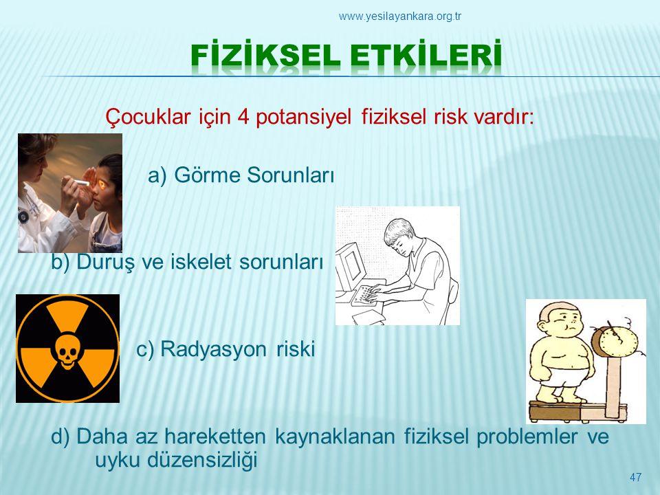 Çocuklar için 4 potansiyel fiziksel risk vardır: a) Görme Sorunları b) Duruş ve iskelet sorunları c) Radyasyon riski d) Daha az hareketten kaynaklanan