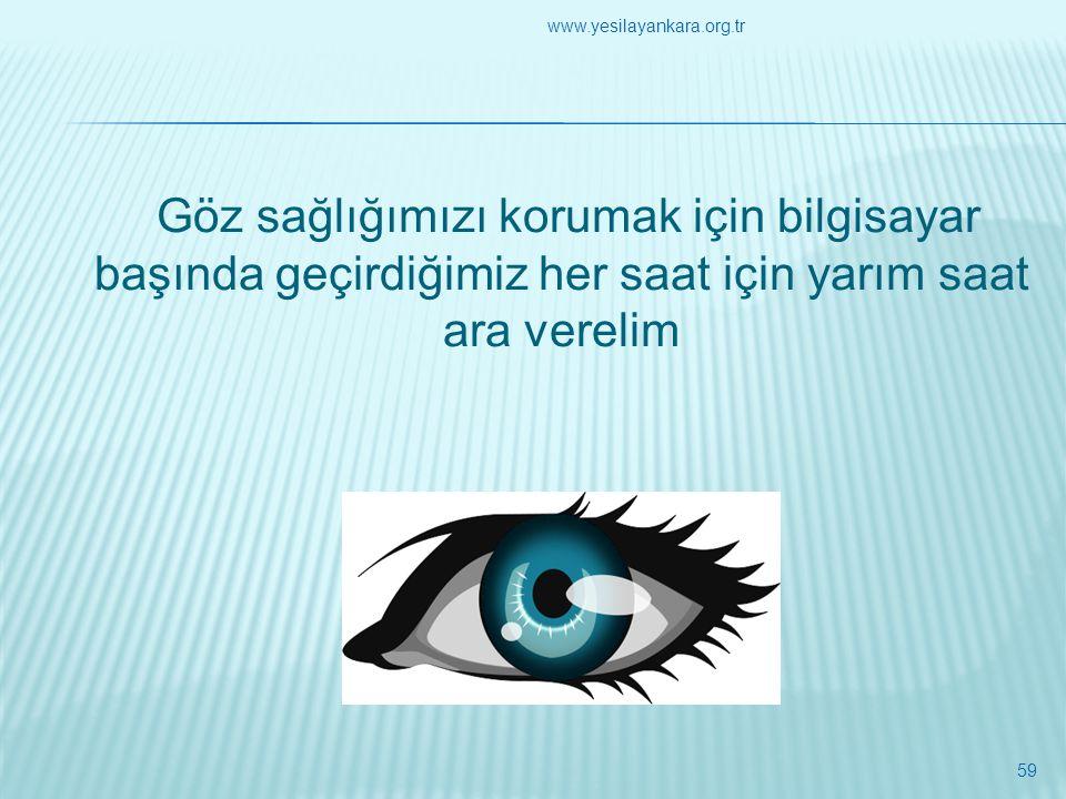 Göz sağlığımızı korumak için bilgisayar başında geçirdiğimiz her saat için yarım saat ara verelim 59 www.yesilayankara.org.tr