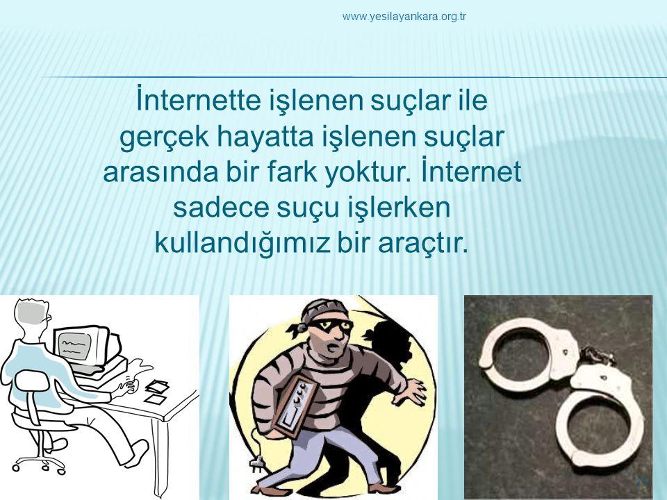 İnternette işlenen suçlar ile gerçek hayatta işlenen suçlar arasında bir fark yoktur. İnternet sadece suçu işlerken kullandığımız bir araçtır. 71 www.