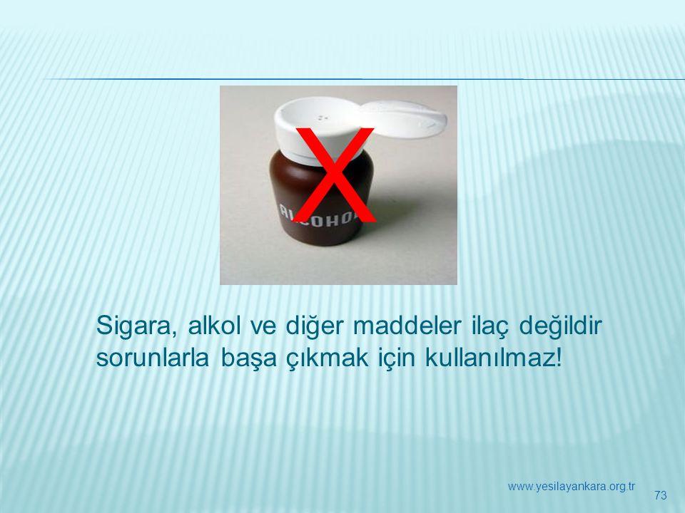 X Sigara, alkol ve diğer maddeler ilaç değildir sorunlarla başa çıkmak için kullanılmaz! 73 www.yesilayankara.org.tr