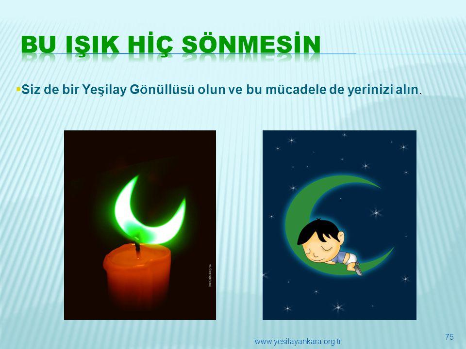 .  Siz de bir Yeşilay Gönüllüsü olun ve bu mücadele de yerinizi alın. 75 www.yesilayankara.org.tr