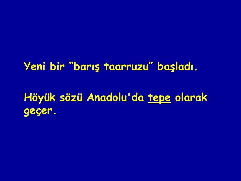 Yeni bir barış taarruzu başladı. Höyük sözü Anadolu da tepe olarak geçer.
