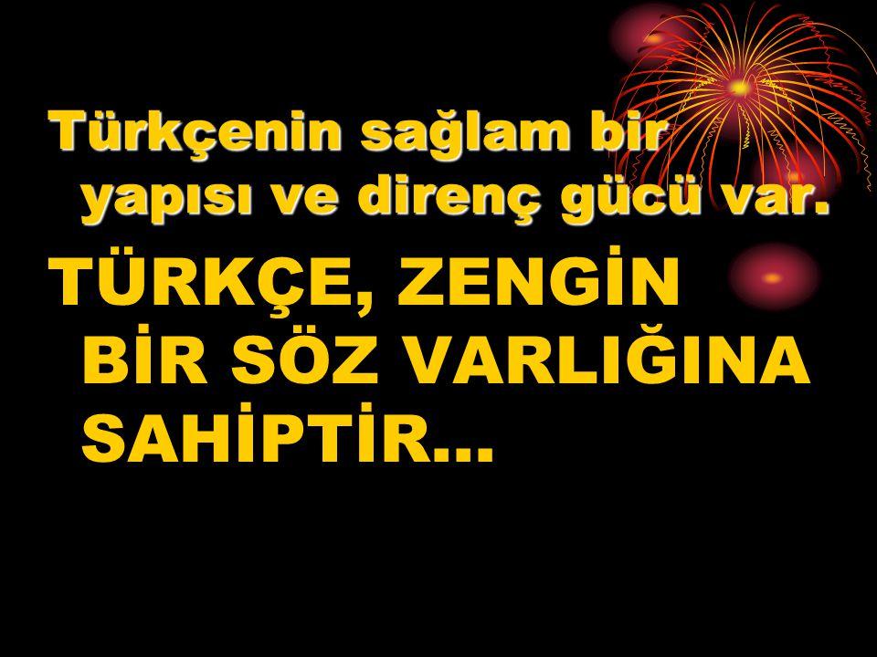 Türkçenin sağlam bir yapısı ve direnç gücü var. TÜRKÇE, ZENGİN BİR SÖZ VARLIĞINA SAHİPTİR…
