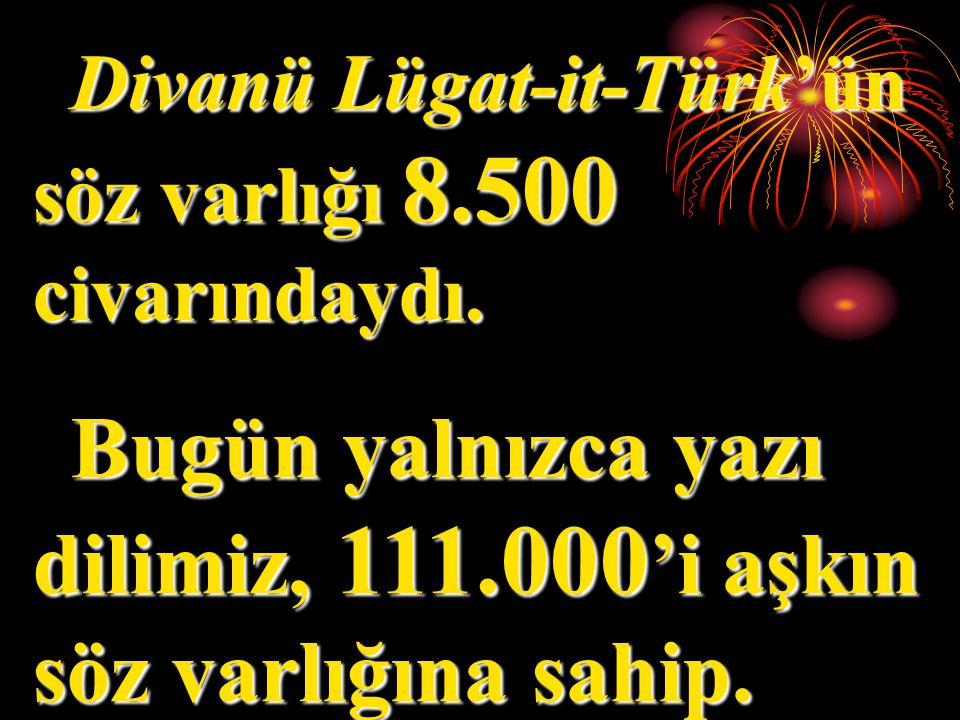 Divanü Lügat-it-Türk'ün söz varlığı 8.500 civarındaydı.