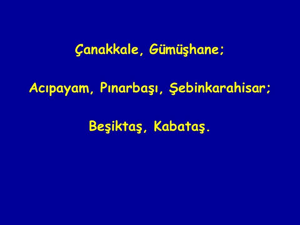 Çanakkale, Gümüşhane; Acıpayam, Pınarbaşı, Şebinkarahisar; Beşiktaş, Kabataş.