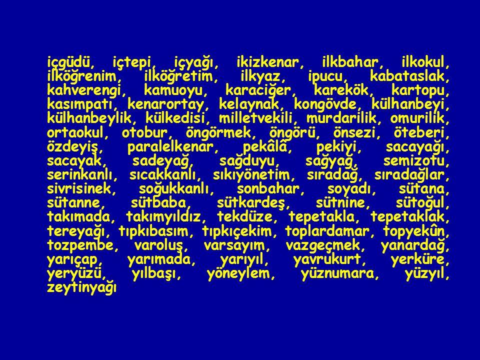 içgüdü, içtepi, içyağı, ikizkenar, ilkbahar, ilkokul, ilköğrenim, ilköğretim, ilkyaz, ipucu, kabataslak, kahverengi, kamuoyu, karaciğer, karekök, kartopu, kasımpatı, kenarortay, kelaynak, kongövde, külhanbeyi, külhanbeylik, külkedisi, milletvekili, murdarilik, omurilik, ortaokul, otobur, öngörmek, öngörü, önsezi, öteberi, özdeyiş, paralelkenar, pekâlâ, pekiyi, sacayağı, sacayak, sadeyağ, sağduyu, sağyağ, semizotu, serinkanlı, sıcakkanlı, sıkıyönetim, sıradağ, sıradağlar, sivrisinek, soğukkanlı, sonbahar, soyadı, sütana, sütanne, sütbaba, sütkardeş, sütnine, sütoğul, takımada, takımyıldız, tekdüze, tepetakla, tepetaklak, tereyağı, tıpkıbasım, tıpkıçekim, toplardamar, topyekûn, tozpembe, varoluş, varsayım, vazgeçmek, yanardağ, yarıçap, yarımada, yarıyıl, yavrukurt, yerküre, yeryüzü, yılbaşı, yöneylem, yüznumara, yüzyıl, zeytinyağı
