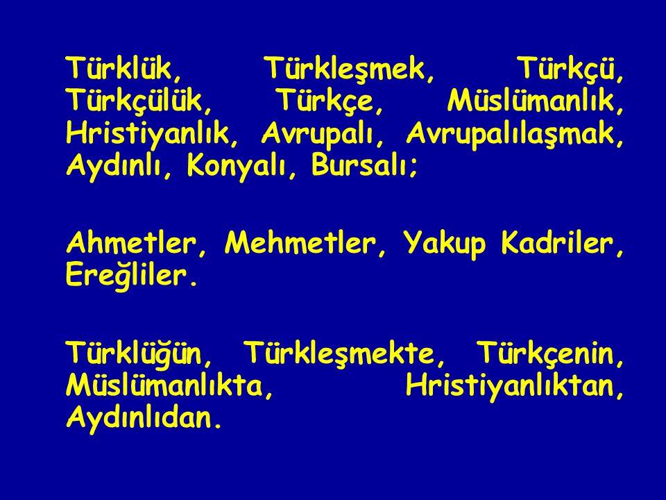 Türklük, Türkleşmek, Türkçü, Türkçülük, Türkçe, Müslümanlık, Hristiyanlık, Avrupalı, Avrupalılaşmak, Aydınlı, Konyalı, Bursalı; Ahmetler, Mehmetler, Yakup Kadriler, Ereğliler.