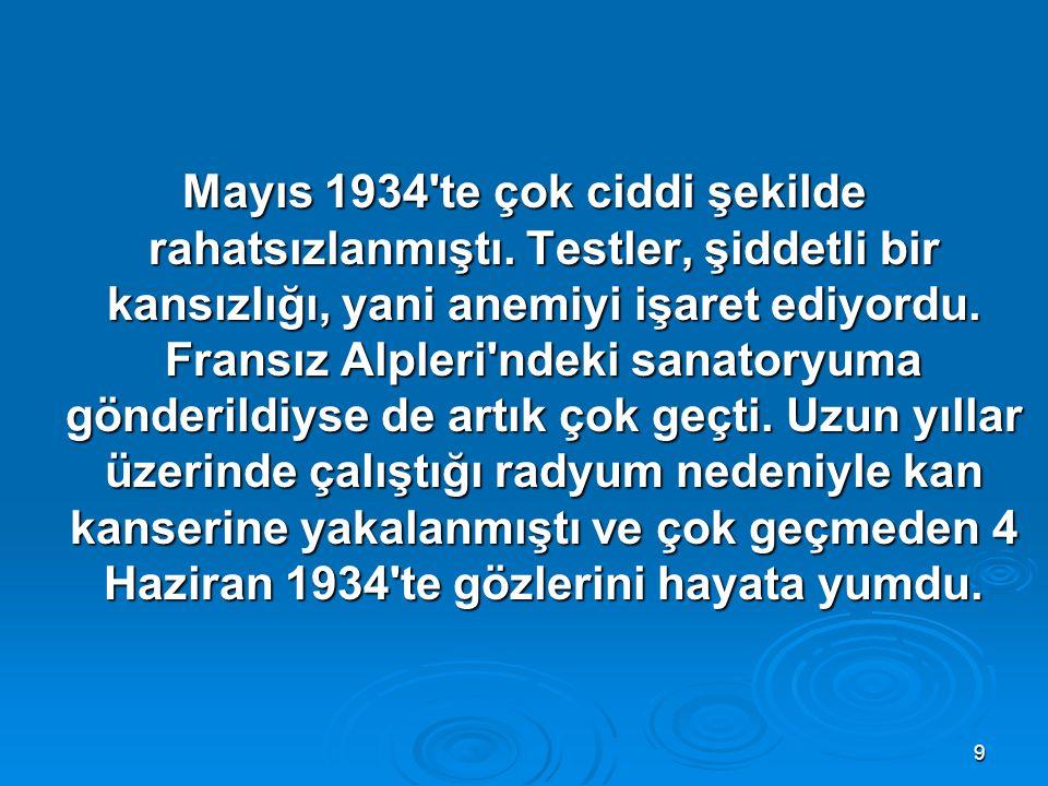 9 Mayıs 1934 te çok ciddi şekilde rahatsızlanmıştı.