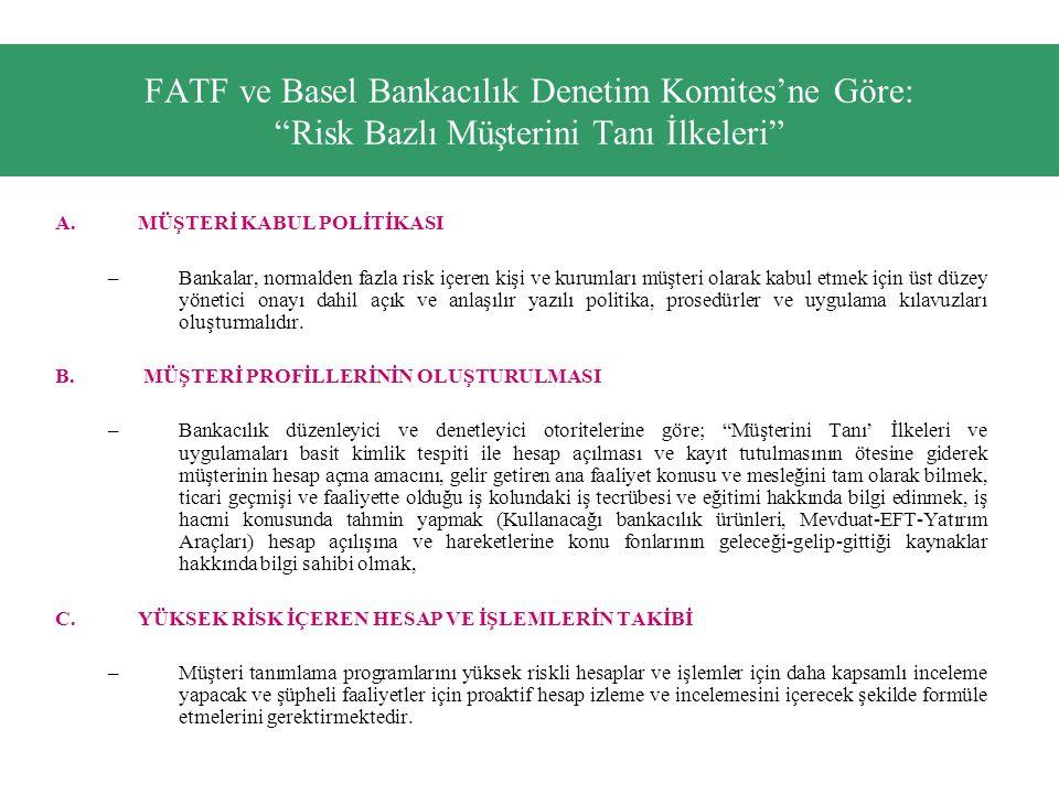 FATF ve Basel Bankacılık Denetim Komites'ne Göre: Risk Bazlı Müşterini Tanı İlkeleri A.MÜŞTERİ KABUL POLİTİKASI –Bankalar, normalden fazla risk içeren kişi ve kurumları müşteri olarak kabul etmek için üst düzey yönetici onayı dahil açık ve anlaşılır yazılı politika, prosedürler ve uygulama kılavuzları oluşturmalıdır.