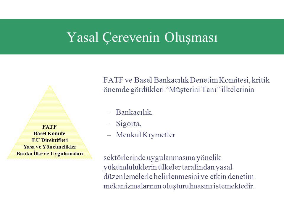 Yasal Çerevenin Oluşması FATF ve Basel Bankacılık Denetim Komitesi, kritik önemde gördükleri Müşterini Tanı ilkelerinin –Bankacılık, –Sigorta, –Menkul Kıymetler sektörlerinde uygulanmasına yönelik yükümlülüklerin ülkeler tarafından yasal düzenlemelerle belirlenmesini ve etkin denetim mekanizmalarının oluşturulmasını istemektedir.