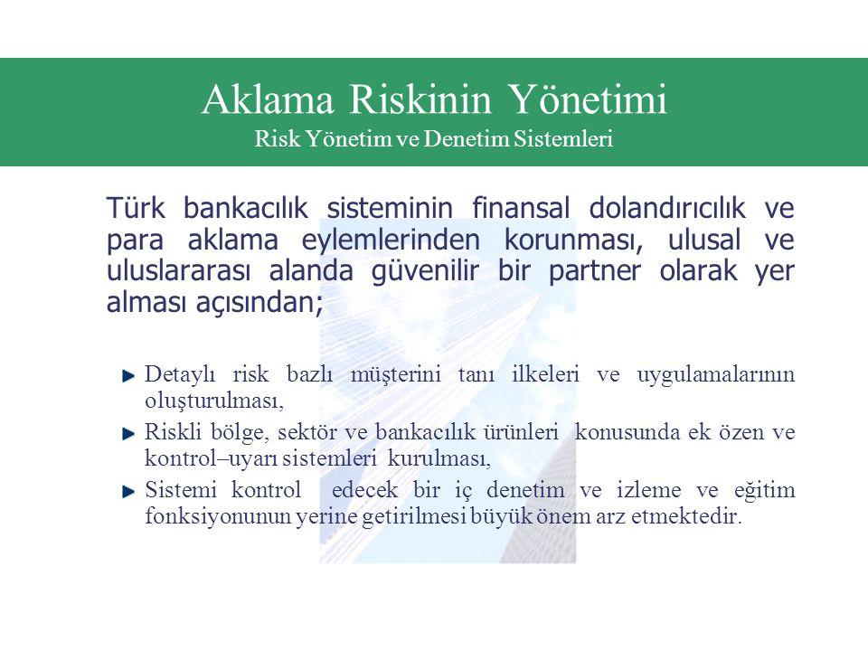 Aklama Riskinin Yönetimi Risk Yönetim ve Denetim Sistemleri Türk bankacılık sisteminin finansal dolandırıcılık ve para aklama eylemlerinden korunması, ulusal ve uluslararası alanda güvenilir bir partner olarak yer alması açısından; Detaylı risk bazlı müşterini tanı ilkeleri ve uygulamalarının oluşturulması, Riskli bölge, sektör ve bankacılık ürünleri konusunda ek özen ve kontrol–uyarı sistemleri kurulması, Sistemi kontrol edecek bir iç denetim ve izleme ve eğitim fonksiyonunun yerine getirilmesi büyük önem arz etmektedir.