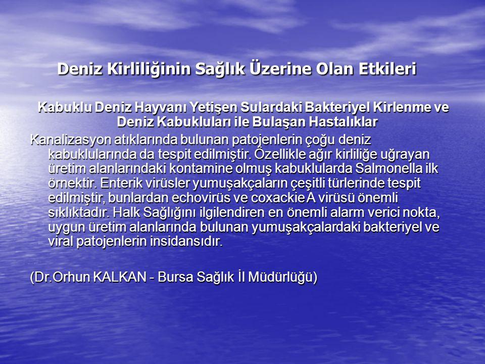 Deniz Kirliliğinin Sağlık Üzerine Olan Etkileri Deniz Kirliliğinin Sağlık Üzerine Olan Etkileri Kabuklu Deniz Hayvanı Yetişen Sulardaki Bakteriyel Kir