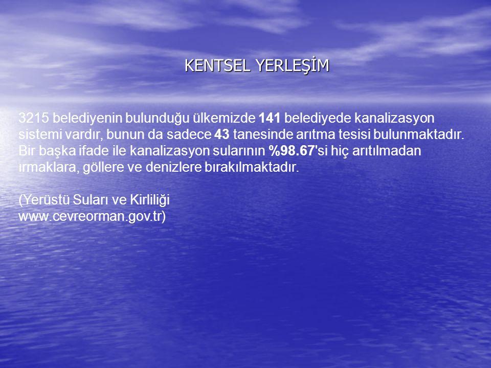 KENTSEL YERLEŞİM 3215 belediyenin bulunduğu ülkemizde 141 belediyede kanalizasyon sistemi vardır, bunun da sadece 43 tanesinde arıtma tesisi bulunmakt