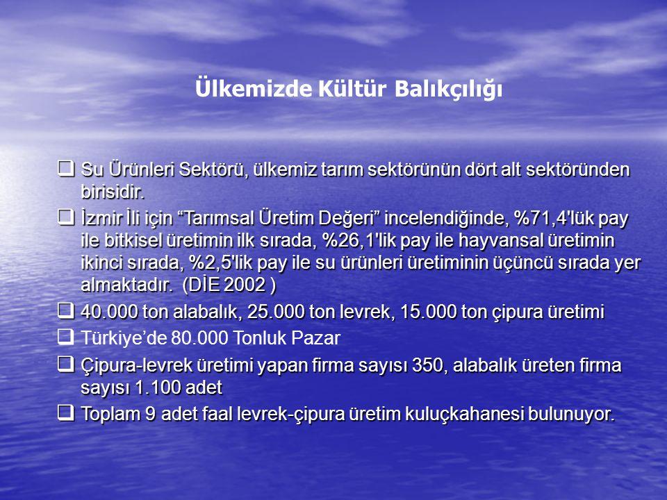 """Ülkemizde Kültür Balıkçılığı  Su Ürünleri Sektörü, ülkemiz tarım sektörünün dört alt sektöründen birisidir.  İzmir İli için """"Tarımsal Üretim Değeri"""""""