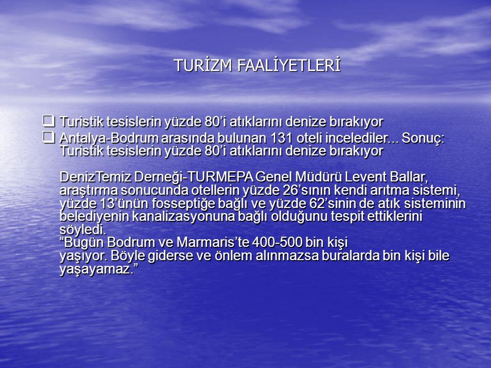 TURİZM FAALİYETLERİ  Turistik tesislerin yüzde 80'i atıklarını denize bırakıyor  Antalya-Bodrum arasında bulunan 131 oteli incelediler... Sonuç: Tur