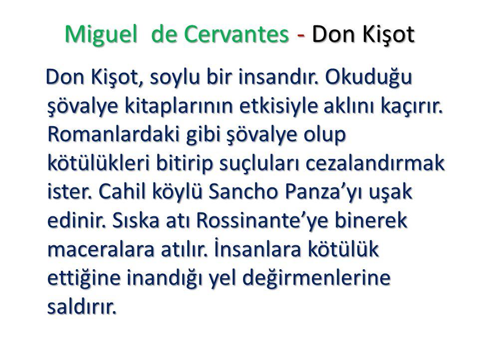 Miguel de Cervantes - Don Kişot Don Kişot, soylu bir insandır. Okuduğu şövalye kitaplarının etkisiyle aklını kaçırır. Romanlardaki gibi şövalye olup k