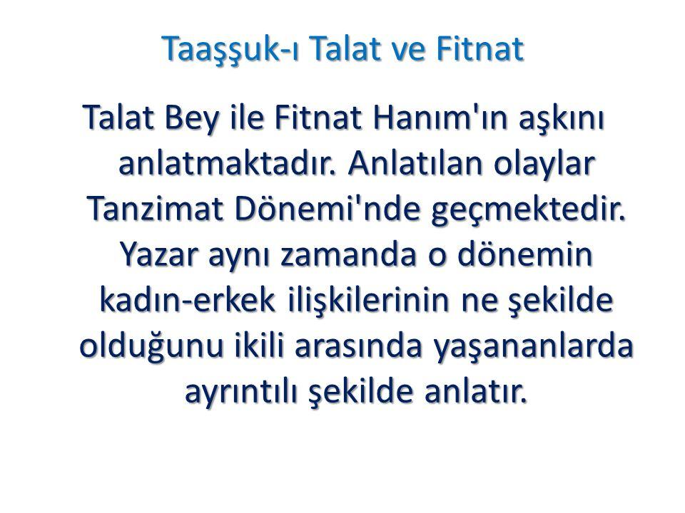 Taaşşuk-ı Talat ve Fitnat Talat Bey ile Fitnat Hanım'ın aşkını anlatmaktadır. Anlatılan olaylar Tanzimat Dönemi'nde geçmektedir. Yazar aynı zamanda o