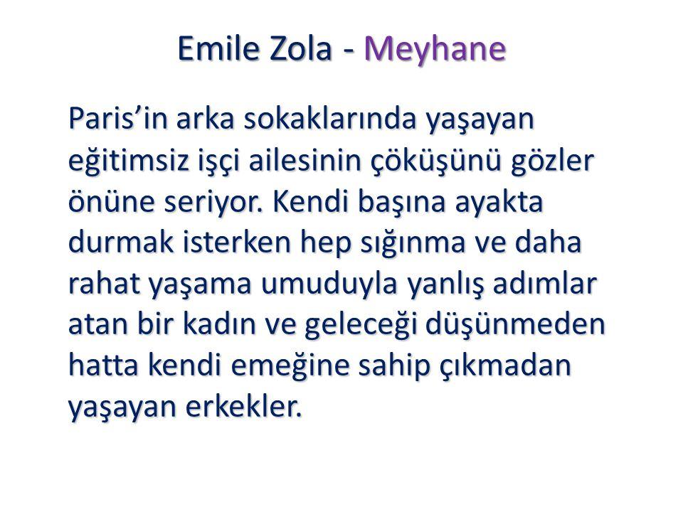 Emile Zola - Meyhane Paris'in arka sokaklarında yaşayan eğitimsiz işçi ailesinin çöküşünü gözler önüne seriyor. Kendi başına ayakta durmak isterken he
