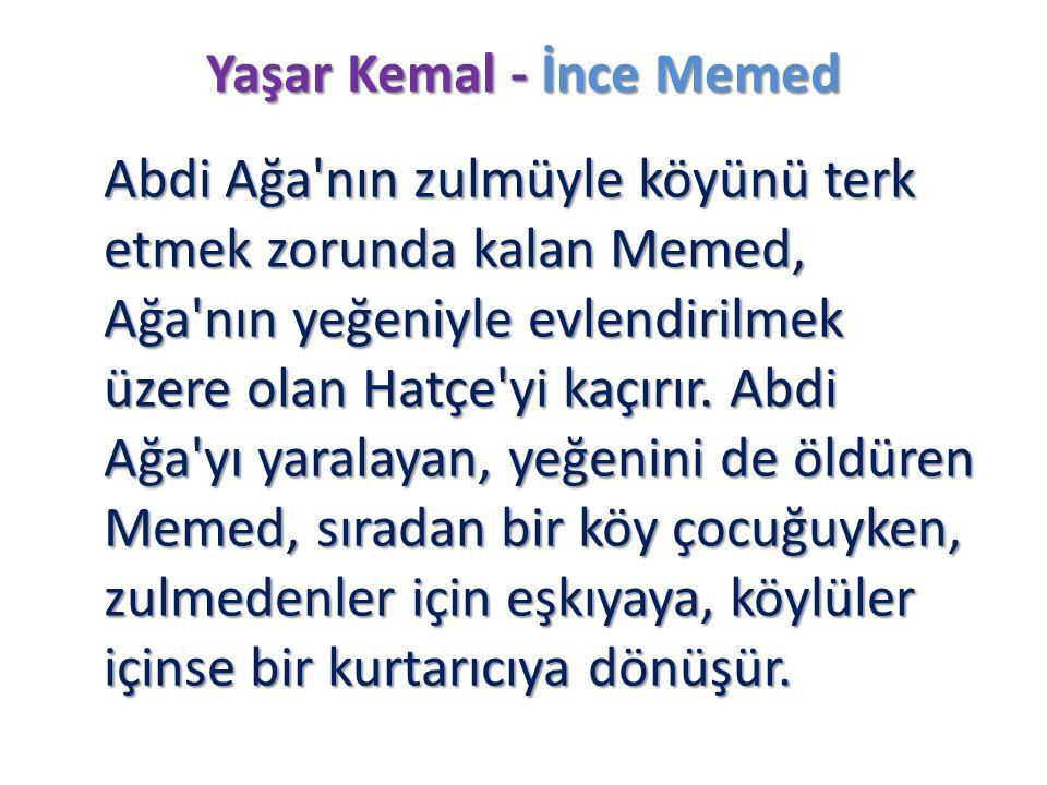 Yaşar Kemal - İnce Memed Abdi Ağa'nın zulmüyle köyünü terk etmek zorunda kalan Memed, Ağa'nın yeğeniyle evlendirilmek üzere olan Hatçe'yi kaçırır. Abd