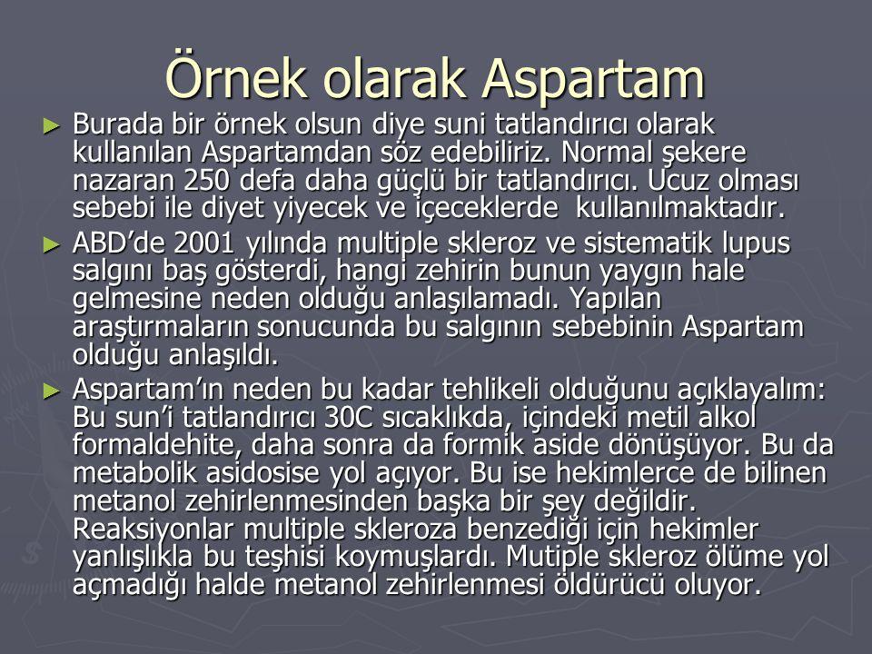 Örnek olarak Aspartam ► Burada bir örnek olsun diye suni tatlandırıcı olarak kullanılan Aspartamdan söz edebiliriz. Normal şekere nazaran 250 defa dah
