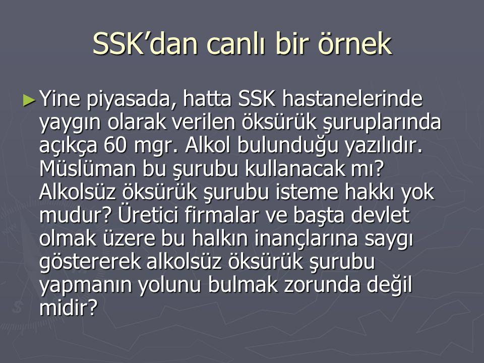 SSK'dan canlı bir örnek ► Yine piyasada, hatta SSK hastanelerinde yaygın olarak verilen öksürük şuruplarında açıkça 60 mgr. Alkol bulunduğu yazılıdır.