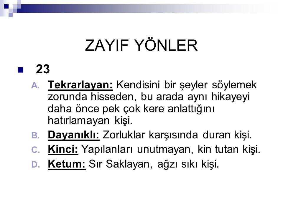 ZAYIF YÖNLER  23 A.