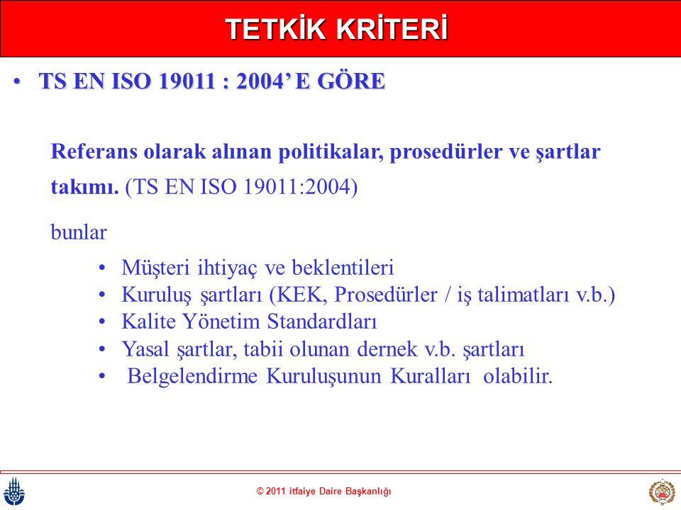 © 2011 itfaiye Daire Başkanlığı TETKİK KRİTERİ Referans olarak alınan politikalar, prosedürler ve şartlar takımı. (TS EN ISO 19011:2004) bunlar •Müşte