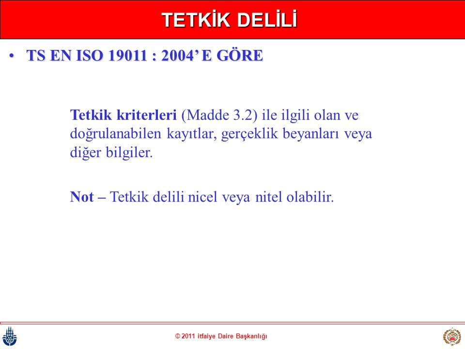 © 2011 itfaiye Daire Başkanlığı TETKİK DELİLİ Tetkik kriterleri (Madde 3.2) ile ilgili olan ve doğrulanabilen kayıtlar, gerçeklik beyanları veya diğer