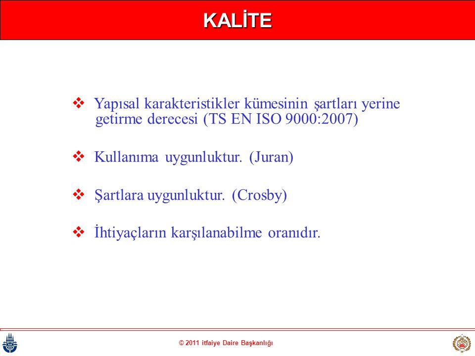 © 2011 itfaiye Daire Başkanlığı KALİTE  Yapısal karakteristikler kümesinin şartları yerine getirme derecesi (TS EN ISO 9000:2007)  Kullanıma uygunlu