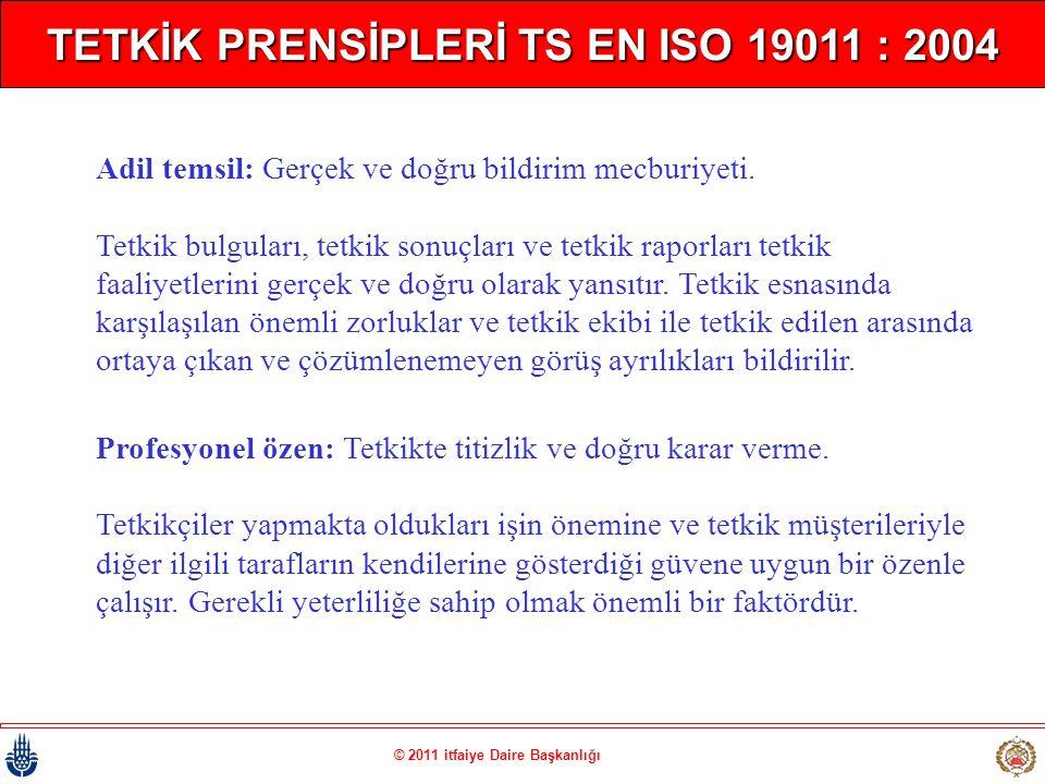 © 2011 itfaiye Daire Başkanlığı TETKİK PRENSİPLERİ TS EN ISO 19011 : 2004 Adil temsil: Gerçek ve doğru bildirim mecburiyeti. Tetkik bulguları, tetkik