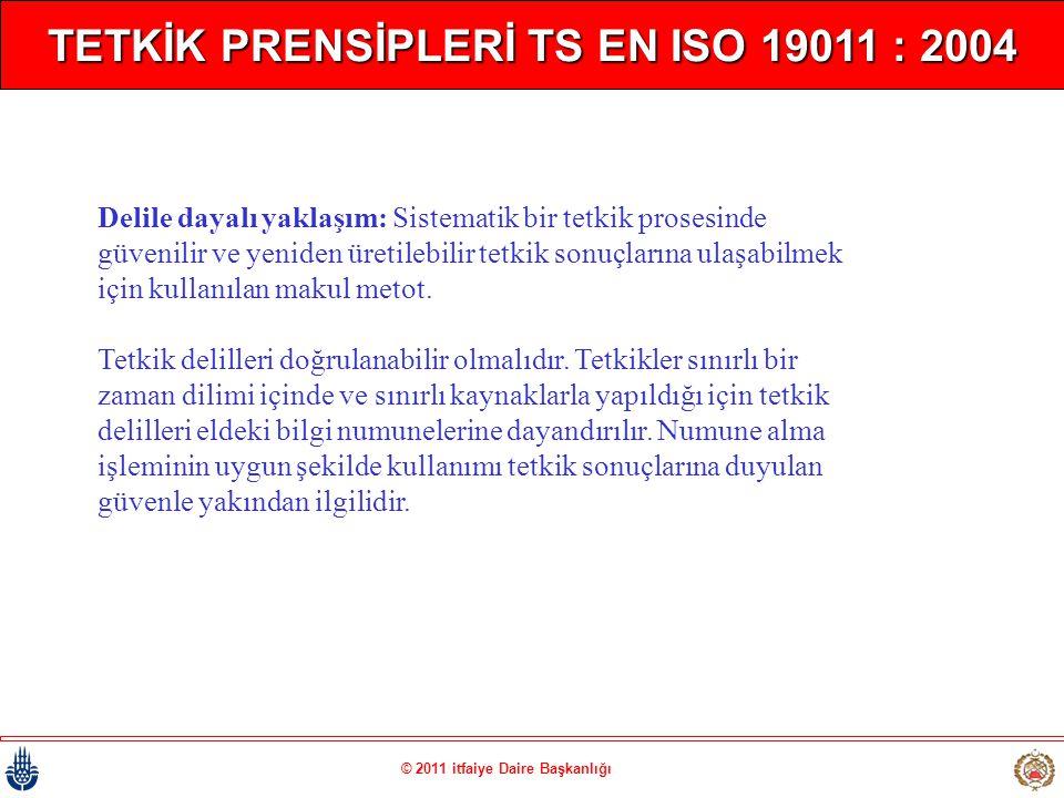 © 2011 itfaiye Daire Başkanlığı TETKİK PRENSİPLERİ TS EN ISO 19011 : 2004 Delile dayalı yaklaşım: Sistematik bir tetkik prosesinde güvenilir ve yenide
