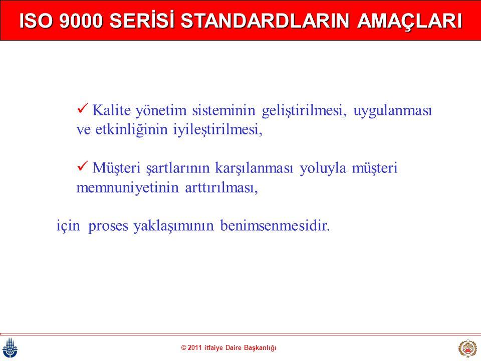 © 2011 itfaiye Daire Başkanlığı ISO 9000 SERİSİ STANDARDLARIN AMAÇLARI  Kalite yönetim sisteminin geliştirilmesi, uygulanması ve etkinliğinin iyileşt